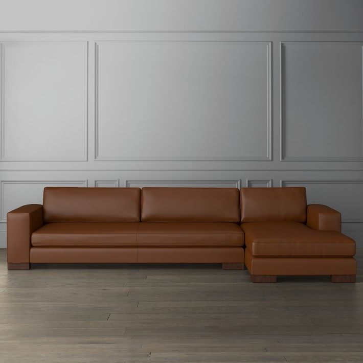 yountville leather 2 piece sofa sectional with chaise