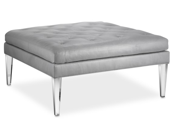 lucite leather ottoman
