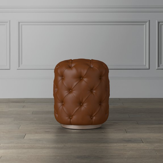 deep leather tufted ottoman small