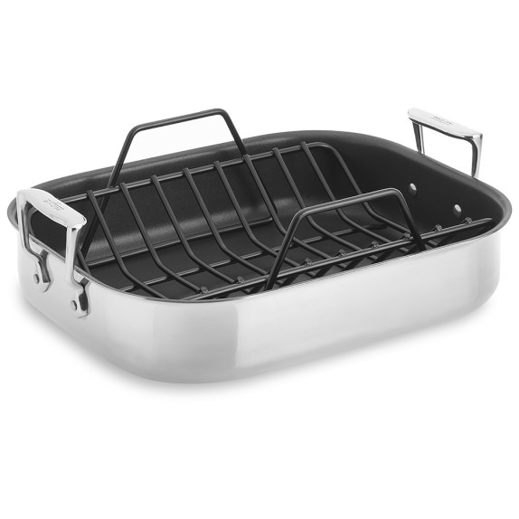 all clad stainless steel nonstick roasting pan with rack