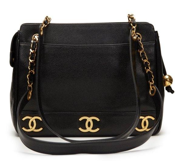 Chanel Black Caviar Leather Vintage Logo Trim Shoulder Bag Hb1148