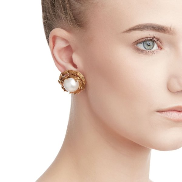 Tiffany & . 18k Yellow Gold Mabe Pearl Clip- Earrings