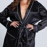 Plus Size Kali Satin Robe Black Lounge Robe Yandy Com