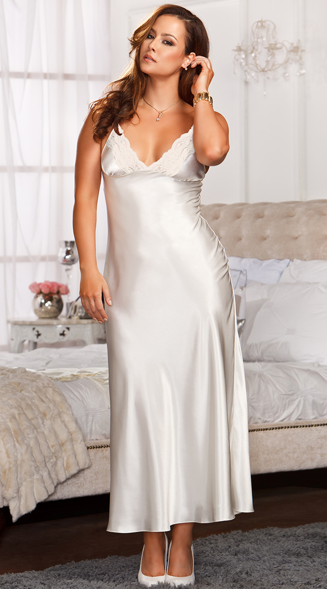 Womens Plus Size Lace Trimmed Floor Length Satin Gown