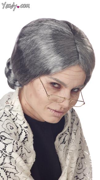 Grandma Wig Old Lady Wig Gray Bun Wig