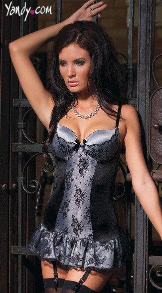 Silver Satin and Black Lace Chemise Silver and Black Chemise Black and Silver Lingerie