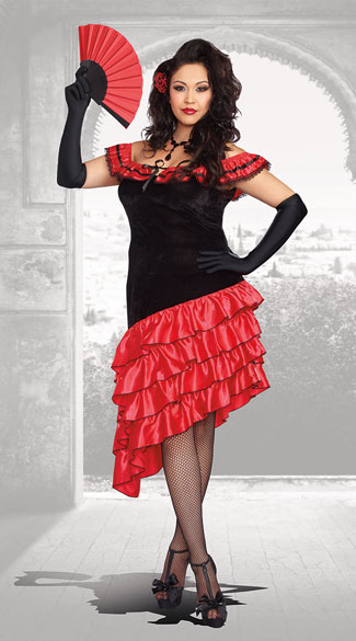 Plus Size Seductive Spanish Dancer Costume Plus Size Sexy