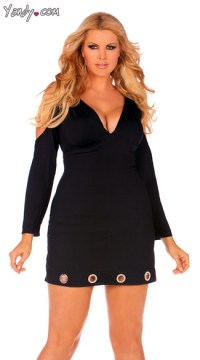 Plus Size Open Shoulder Party Dress