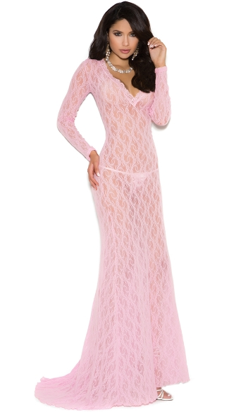 Elegant Long Sleeve Lacy Gown Floor Length Nightgown