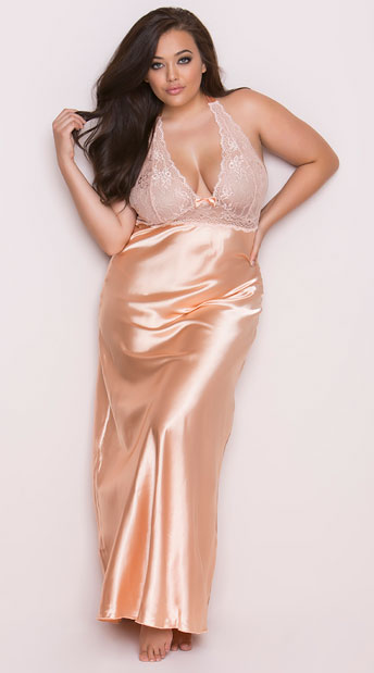 Plus Size Peaches and Cream Long Gown Plus Size Satin and