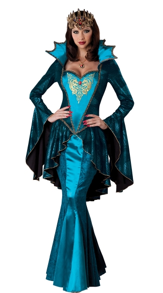 Turquoise Medieval Queen Costume Blue Medieval Queen