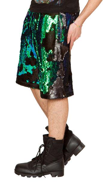 Plus Size Flip Sequin Basketball Shorts Plus Size Unisex