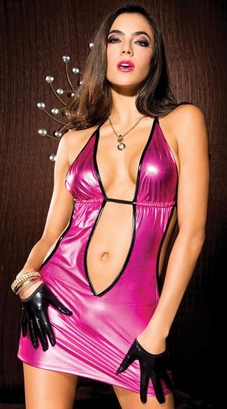 Hot Pink Metallic Mini Hot Pink Club Dress Metallic Pink