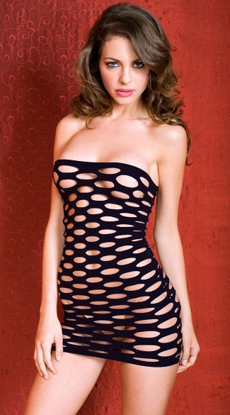 Pothole Chemise Purple Net Chemise Black Net Mini Dress