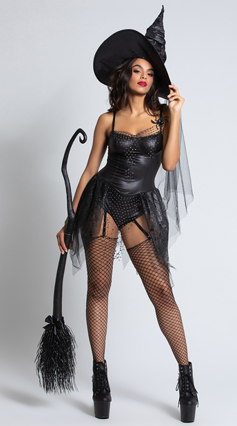 Diy Sexy Witch Costume : witch, costume, Black, Spider, Witch, Costume,, Romper, Spier, Costume