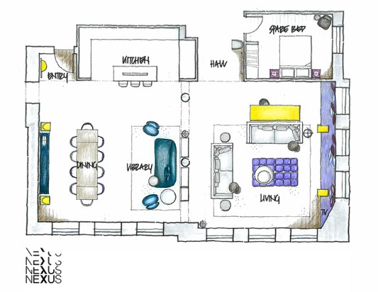 Furniture Plan for Tribeca Loft, NYC by Nexus Designs | Yellowtrace.