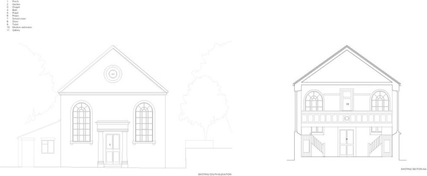 The Providence Chapel in Wiltshire by Jonathan Tuckey Design, Exiting Sections | Yellowtrace.