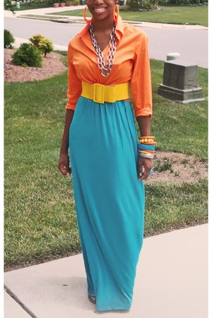 Orange Bamboo Earrings Turquoise Blue Dresses Yellow