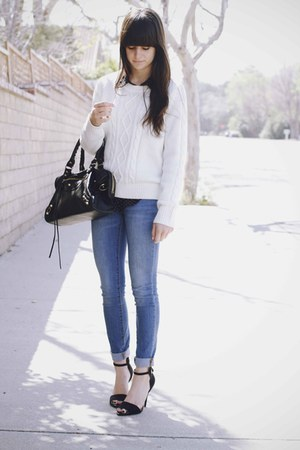 Black Heels Sky Blue Jeans White Sweaters Black Polka