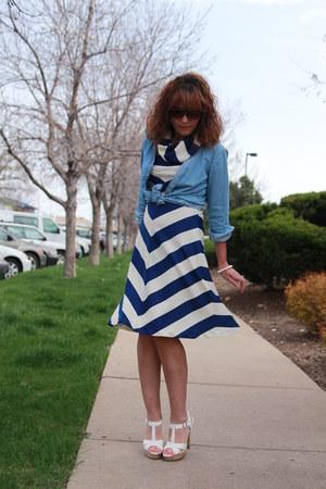 Navy Striped Vintage Dresses Sky Blue Chambray Lee Shirts