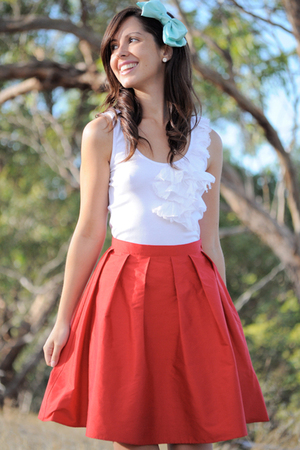 White Kookai Tops Red Krista Hochwallner Skirts Blue