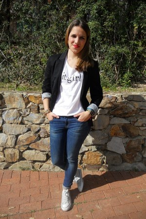 Black Stradivarius Blazers White Converse Shoes Blue