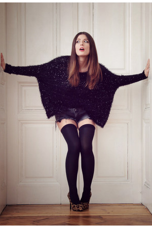 Black Sequined Chicwish Tops Blue Denim Zara Shorts