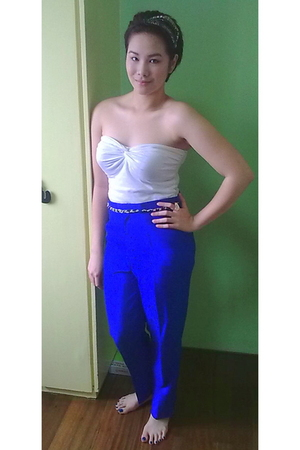 White Topshop Tube Tops Blue Vintage From Granny Pants