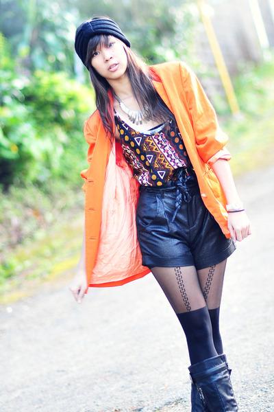 vintage blazer - black leather shorts - black random from Hong Kong kong boots -