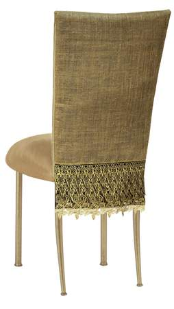 fancy chair covers unusual shaped burlap cover with camel suede cushion on gold legs