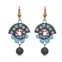 Buy Pretty Blue and Black Terracotta Earrings Online