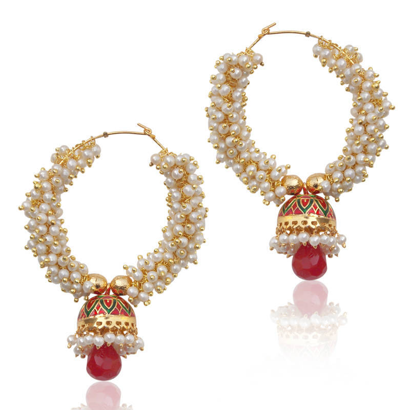 Buy Glowing pearl bali with a small red green meenakari