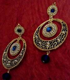 Buy Pretty blue meenakari work in a body of pearls teardrop Indian ethnic earring o125 hoop online