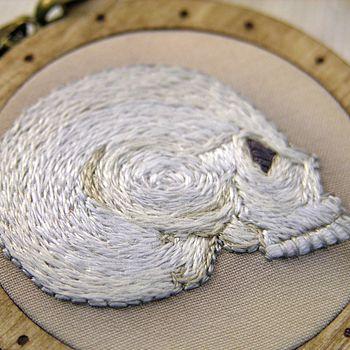 Embroidered Midwinter Skull Profile Pendant
