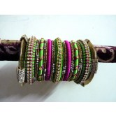 parrot-green-and-pink-party-wear-silk-thread-bangles