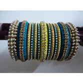 peacock-blue-and-yellow-designer-party-wear-silk-thread-bangles