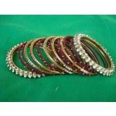 maroon-silk-thread-party-wear-metal-bangles