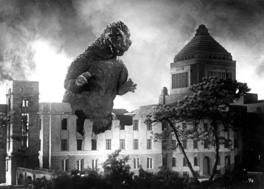 The first appearance of Godzilla in 1954 set the basic look and tone for all future Godzilla films, with one major exception. This Godzilla has crazy eyes, the kind of eyes you'd expect to see on a radioactive city-stomping monster.