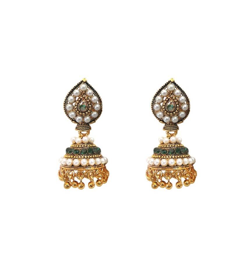 Buy Green pearl Pearl earrings Online