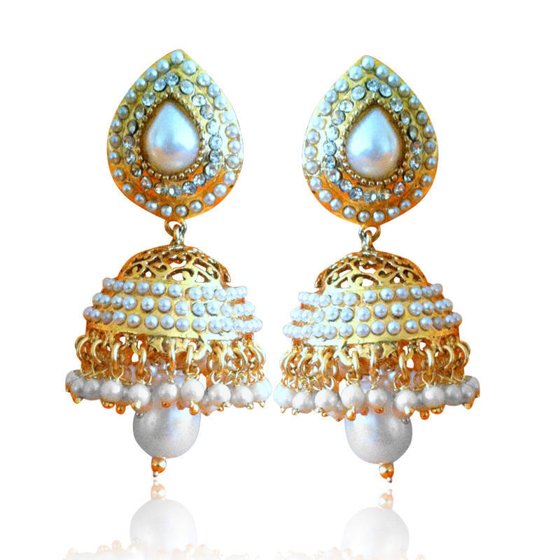 Buy Ethnic Pearl Jhumka Earrings with White Stones by