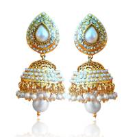 Buy Ethnic Pearl Jhumka Earrings with White Stones by ...