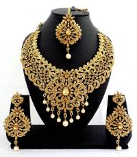 Buy Designer golden stone bridal necklace set with maang