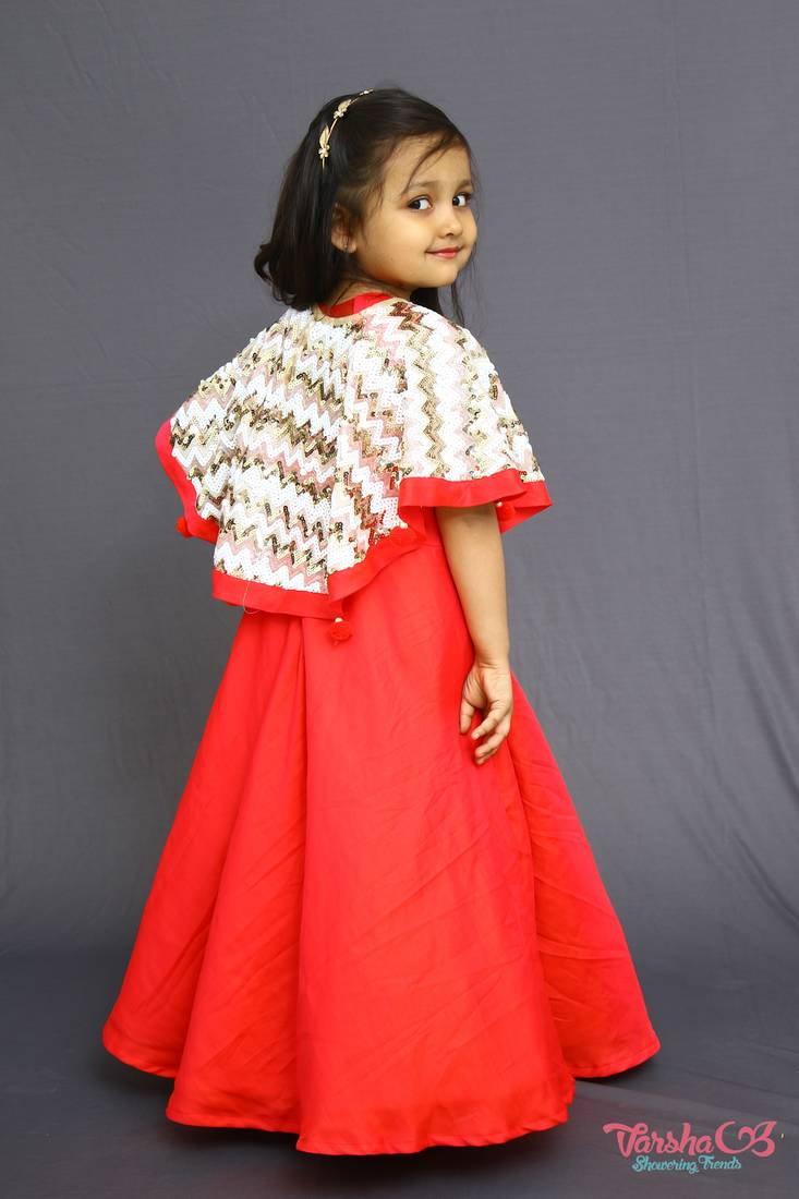 Buy Red Color One Piece With Sequence Cape Online