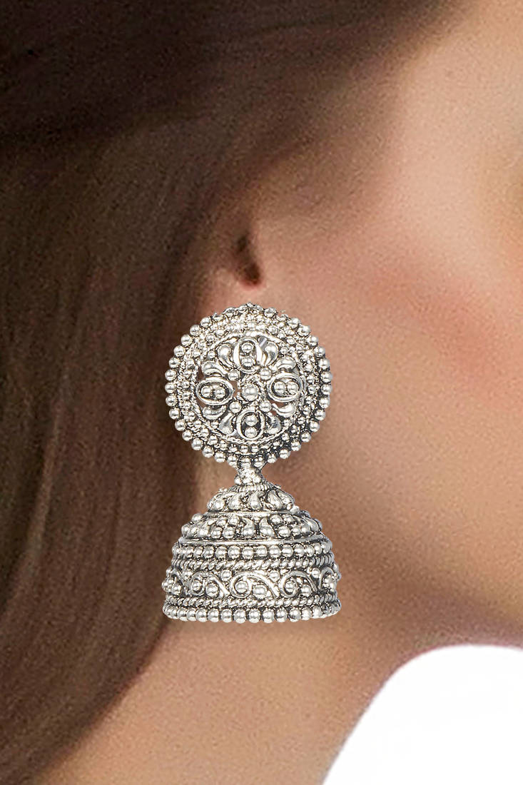 decorative kitchen plates for wall short curtains buy silver fusion black metal jhumka earrings online