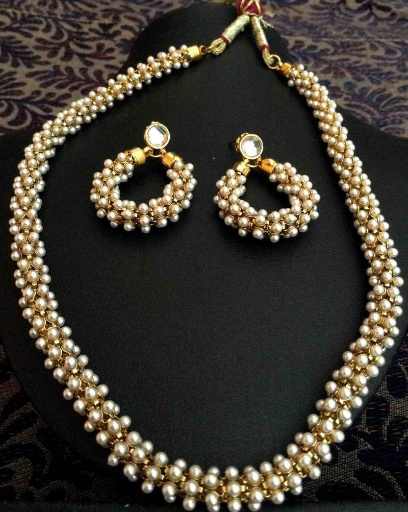 Buy Beautiful Chandni Pearls Woven in Golden Metal Indian Pearl Necklace Set d20 Online