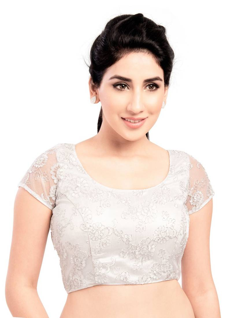 Buy silver net stitched blouse Online