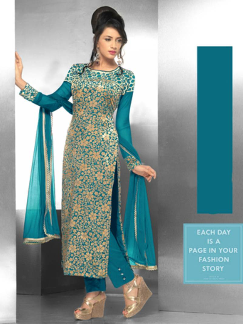Buy blue embroidered Velvet and Brasso semi stitched