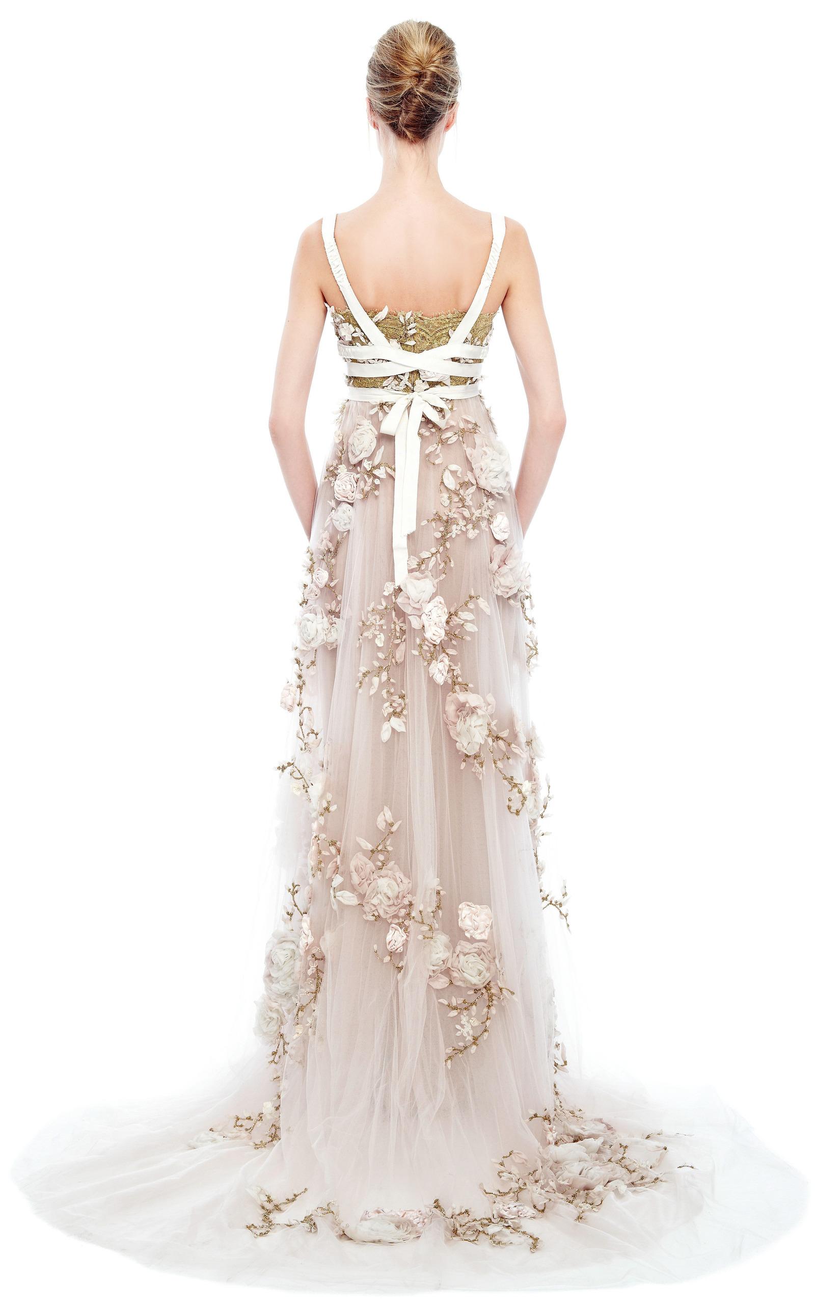 3D Silk Ribbon Rose Empire Waist Gown by Marchesa  Moda