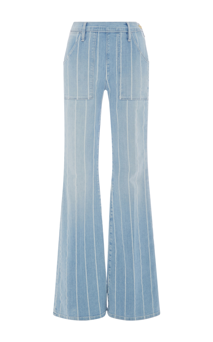 Le Flare De Francoise Striped High Rise Flare Jeans By