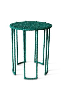 Side Table of Crushed Malachite by Amoia Studio